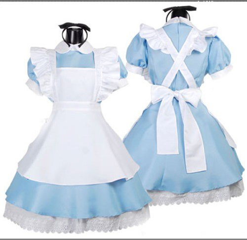 Ninimour- Women's Alice Wonderland French Apron Maid Cosplay Costume (blue)