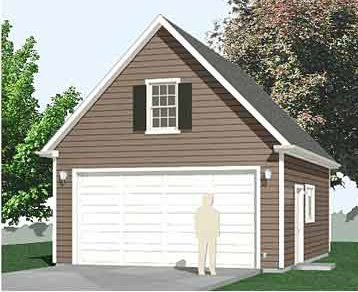Garage Plans : 2 Car Compact, Steep Roof Garage Plan With Attic - 480-1A - 20' x 24' - two car - By Behm Design