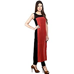 Cartyshop red Black georgette tunic tops kurti for women