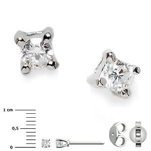 Superstar Boucles d'Oreilles Femme en Or 18 carats Blanc avec Diamant H/SI, 0.8 Grammes