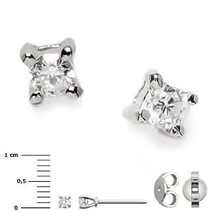 Superstar Boucles d'Oreilles Femme en Or 18 carats Blanc avec Diamant H/SI (total diamants 0.06 ct), 1 Grammes