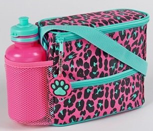 Official Disney Pink Leopard Animal Print Lunch Bag & Bottle Set with thermal lining. Cute 80s style design