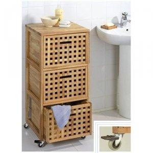 Meuble conteneur roulettes de salle de bain en bois 3 for Amazon meuble de salle de bain
