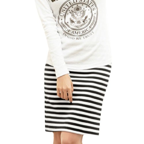 Allegra K Ladies Elastic Waist Black White Striped Pencil Skirt XS Image