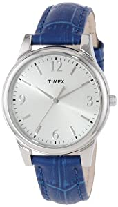 Timex Women's T2P093TN Dark Blue Croco Patterned Leather Strap Watch