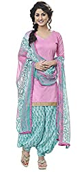 Jiya Women's Cotton Dress Material (BTRPSP99003_Baby Pink_N/A)