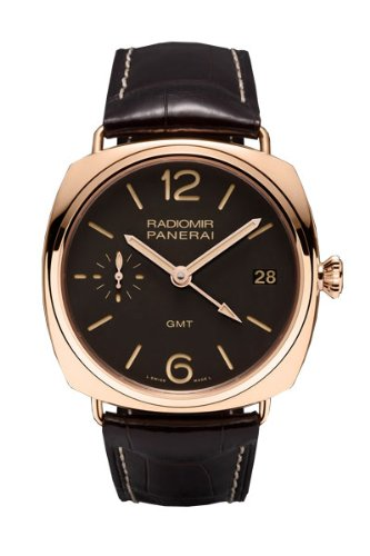 Panerai Radiomir GMT Brown Dial 18kt Rose Gold Brown Alligator Leather Mens Watch PAM00421