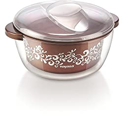 Nayasa Nova Plastic Casserole with Spoon, 1.5 Litres, Brown