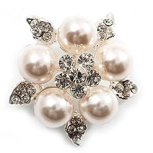 Atemberaubende Hochzeits-Brosche mit Strass und Perlen (Schneeweiß & Silber)