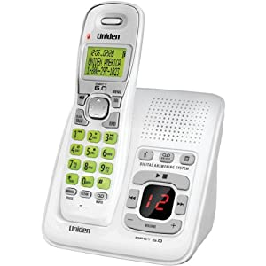 D1483 DECT 6.0 Cordless Phone with Digital Answering System, White, 1 Handset