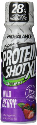 Probalance The Original Protein Shot Xl With Caffeine, Wild Berry 3 Fluid Ounce, Pack Of 24