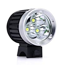 Canwelum Brightest Three-led Cree T6 LED Bike Front Light, Sports LED Bike Headlight, Mountain Bicycle Front Light (A Complete Set with Battery and Charger)