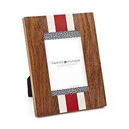 Tommy Hilfiger Vertical Striped Wood Resin Frame, 4 by 6-Inch, Red