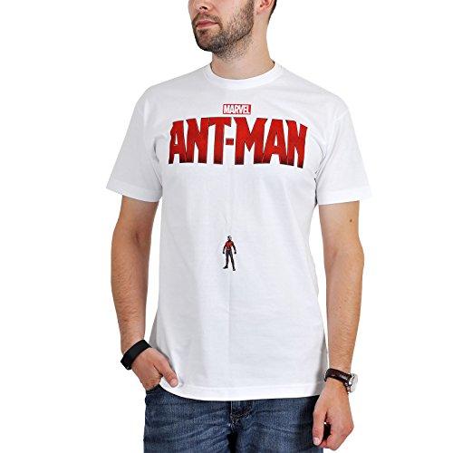 Ant-Man Big Hero Marvel - Maglietta di cotone supereroi, con licenza ufficiale, bianco - M