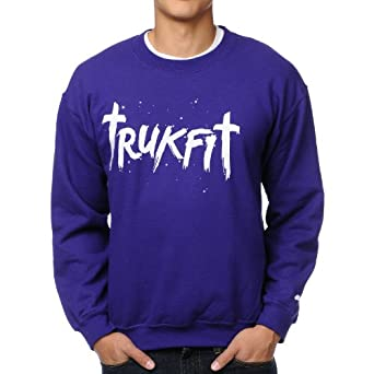 Trukfit Purple Glow in the Dark Artwork Sweater Crewneck Pullover (S)