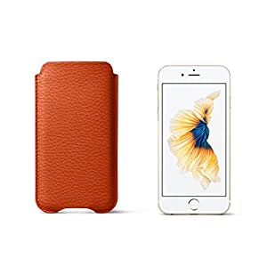 Lucrin - Sleeve for iPhone 6/6s - Orange - Granulated Leather