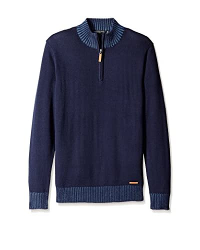 London Fog Men's 1/4 Zip Rib Collar Sweater