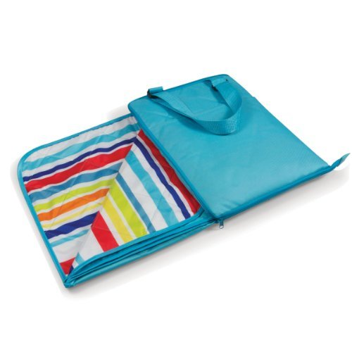 Picnic Time Vista Outdoor Blanket Tote, Aqua Blue With Fun Stripes Picnic Time Vista Blanket Tote For Various Outdoor Activities Polyester Underside With A Gorgeous Print And Solid Color Exterior Fold It Up Into A Convenient Carry Tote With Adjustable Str