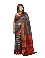 Vipul Minakari Silk Brown Geometrical Print Saree With Foil Print