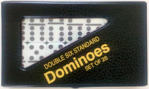 StealStreet SS-CQG-2408L-WHT White Standard Double 6 Dominoes Game with Black Vinyl Case