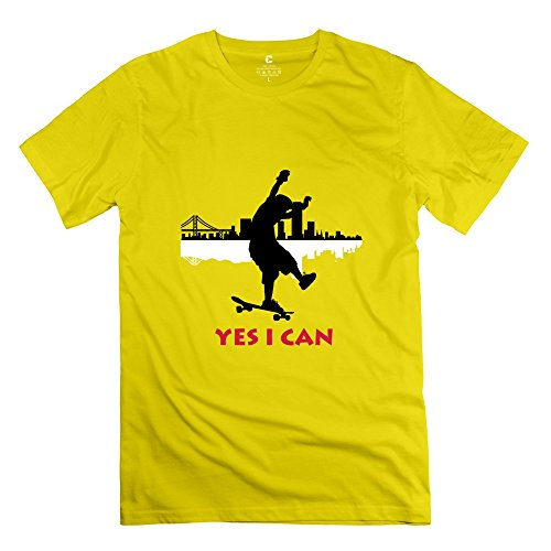Yongth Men'S Yes Can Longboarding 100% Cotton T-Shirt - Love T Shirts Yellow Us Size M