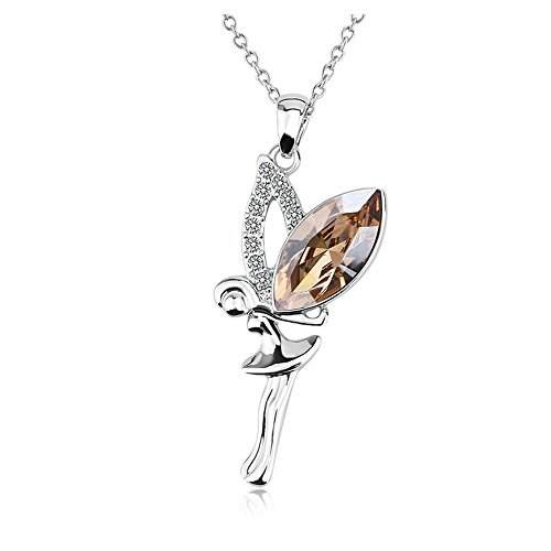 Yuriao Jewelry Angel Wing girl Crystal Diamond Accented Pendant Necklace(brown) (Vampire Cullen Costumes)