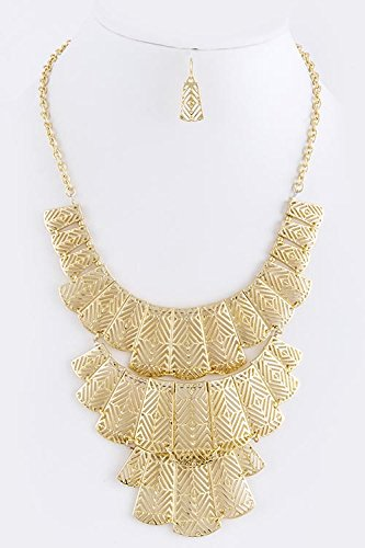 TRENDY FASHION JEWELRY MULTI TRIBAL CUT OUT TIERED NECKLACE SET BY FASHION DESTINATION trendy fashion jewelry multi tribal cut out tiered necklace set by fashion destination