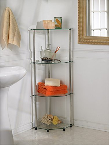 Convenience Concepts Designs2Go Go-Accsense 4-Tier Glass Corner Shelf, Clear Glass