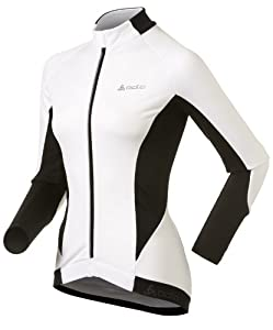 Odlo Women's Stand-Up Collar Long Sleeve Full Zip Cycling Jersey - White/Black, Medium