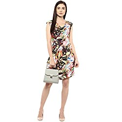 Multicolor Printed Neck Short Digital Print Dress