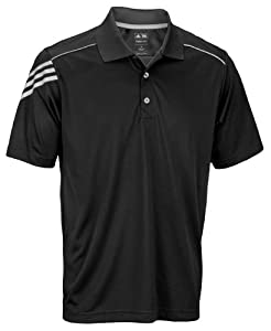 Adidas Athletic Men's Climacool 3-Stripes Polo Shirt (Small, Black)