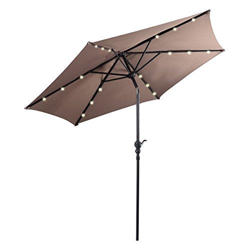 Giantex 9ft Patio Solar Umbrella LED Patio Market Steel Tilt w/ Crank Outdoor (Tan)