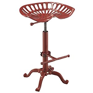 Remarkable Carolina Cottage Adjustable Colton Tractor Seat Stool Red Beatyapartments Chair Design Images Beatyapartmentscom