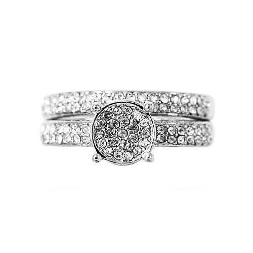CZ Wedding Ring Set - Round Frame Pave Set CZ In White Gold Filled Ring Set By GemGem Jewelry (10)