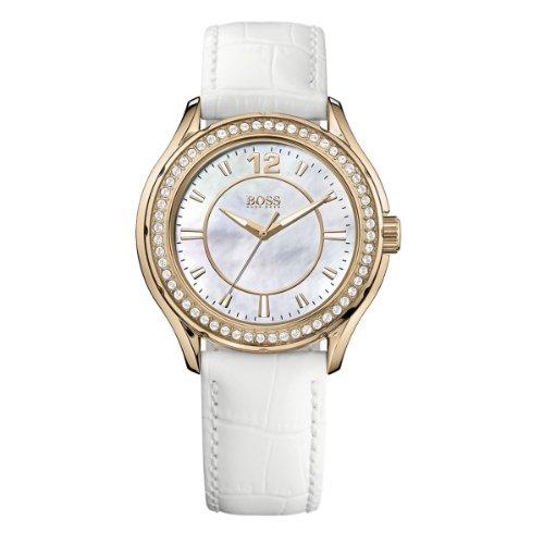 Hugo Boss 1502265 - Reloj analógico de cuarzo para mujer, correa de cuero color blanco