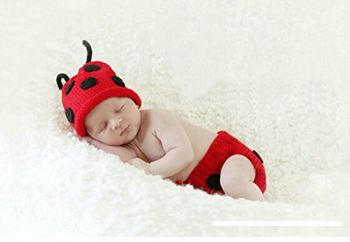Jastore® Photography Prop Baby Cute Red Ladybug Crochet Knitted Costume Cap Diaper