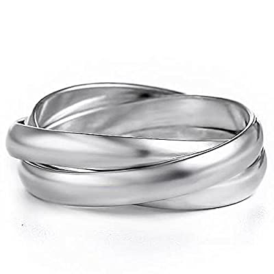 YourJewelleryBox LOAS1060 RUSSIAN WEDDING BAND RING WOMENS UNISEX INTERLOCKING STERLING SILVER
