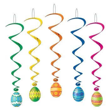 Beistle 40050 5-Pack Easter Egg Whirls for Parties, 3-Feet 4-Inch
