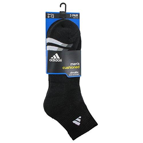 Adidas Men's Cushion Quarter Socks (Pack of 3), Black/White/Light Onix/Granite, One Size