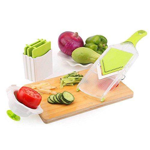 Uten Mandoline Manuelle de Légumes Fruits Mandoline Slicer en forme V avec 4 plaques de lames en acier inoxydable à Découper/Râper/Éplucher/Trancher/Emincer Eminceur Julienne Découpe-Légumes Hachoir manuel
