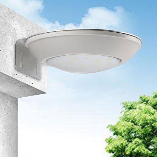 DROK® IP65 esterna a microonde impermeabile Radar sensore di movimento della lampada luce solare corpo induzione, 16 LED 260lm wireless Esterno di sicurezza di illuminazione per il percorso del patio del giardino di paesaggio, con tramonto all'alba sensore (luce diurna)
