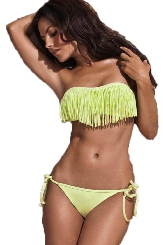 2013 New Arrival Popular Fashion Sexy Lady Padded Boho Fringe Bandeau Top Strapless Dolly Bikini Set Swimwear (Yellow, M) image
