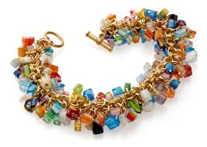 Pricegems Gold Plated Ladies Murano Glass Real Italian Murano Glass Multi Color Dangling Bead Style Toggle Bracelet