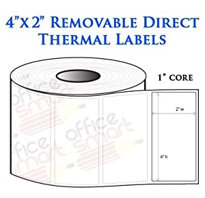 Amazon.com : 4x2 Direct Thermal Removable Labels for Zebra ...