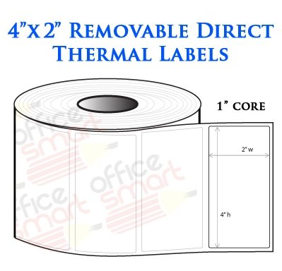 4X2 Direct Thermal Removable Labels For Zebra Gc420D Gc420T Gk420D Gk420T Gx420D Gx420T Lp2844 Lp2442 Tlp2844 Zp450 Barcode Printer - 10 Rolls