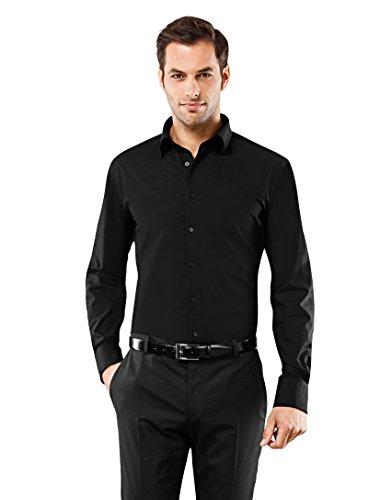 VB -  Camicia classiche  - Basic - Classico  - Maniche lunghe  - Uomo nero XL (Taglia proddutore: 43/44)
