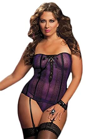 Seven Til Midnight Plus Size Wild Side Bustier And Thong Purple Queen