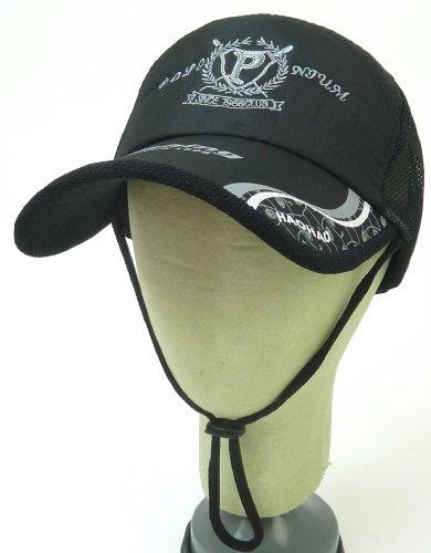 フィッシングメッシュキャップ/メンズ帽子/ロゴ入/フリーサイズ/55cm~62cm/サイズ調節ベルト付/大きいサイズ/春夏/釣り用帽子 (黒)