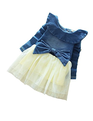 Little Hand Little Girls Denim Cami Dress Dots Chiffon Ruffle Lapel Dress 12M-4Y