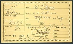 WELLINGTON MARA NEW YORK GIANTS Signed Hotel Schenley Registration Card PSA DNA